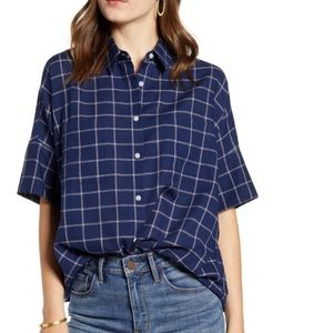 Madewell short sleeve plaid button down